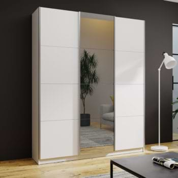 """ארון הזזה לבן 180 ס""""מ עם דלת מראה מגירות וזוג טריקות שקטות דגם שובל"""