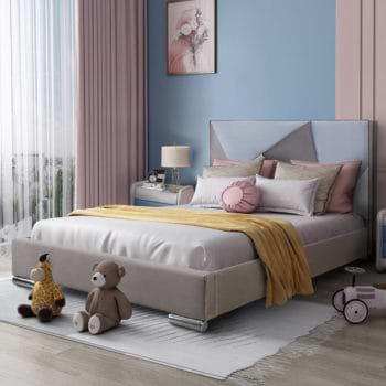 מיטת נוער רחבה ומעוצבת 120×190 בריפוד בד קטיפתי דגם ברק