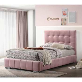 מיטת נערות 120×190 מרופדת בד קטיפתי ורוד דגם דיאנה