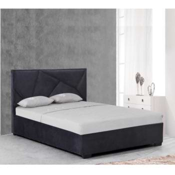 מיטה זוגית מעוצבת 160×200 בריפוד בד קטיפתי עם ארגז מצעים מעץ דגם קרן