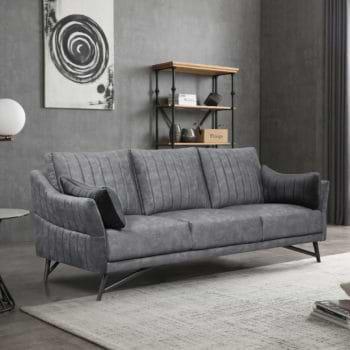 ספה מעצבים תלת-מושבית עם קפיצים מבודדים ובד קטיפה דגם מרבלה