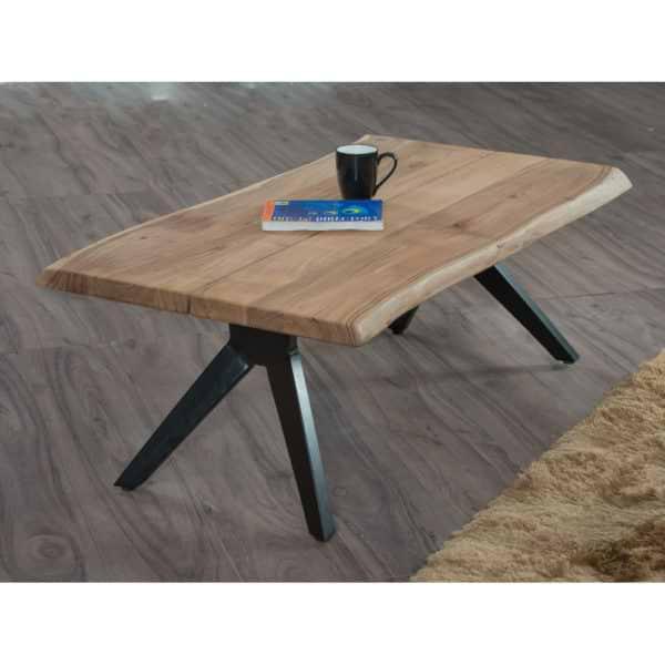 שולחן סלון מעץ מלא משולב ברזל דגם סיאטל
