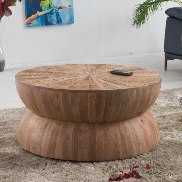 שולחן סלון עגול מרהיב מעץ מלא דגם דקוטה