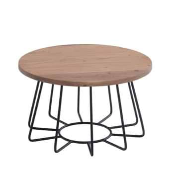 שולחן סלון עגול מעץ מלא משולב ברזל דגם הוואי