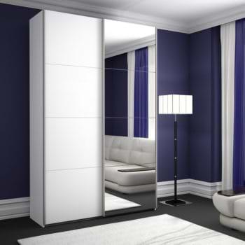 """ארון הזזה לבן 120 ס""""מ עם דלת מראה מגירות וזוג טריקות שקטות דגם סייפן"""