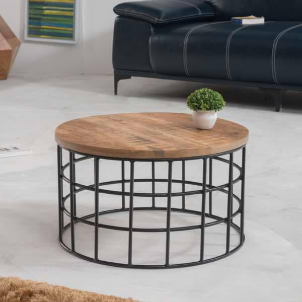 שולחן סלון עגול מעץ מלא משולב ברזל דגם מיאמי