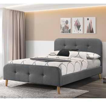 מיטת זוגית מעוצבת 140×190 בריפוד בד דגם נורית 140