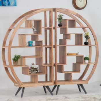 מערכת מדפים מרהיבה מעץ סיסם טבעי מלא דגם ניו יורק