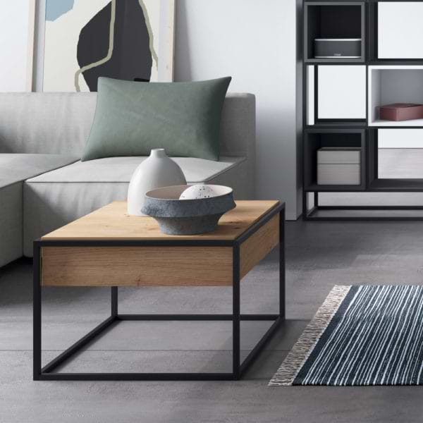 שולחן קפה עם רגלי מתכת ומגירה תוצרת אירופה דגם פנדורה 60