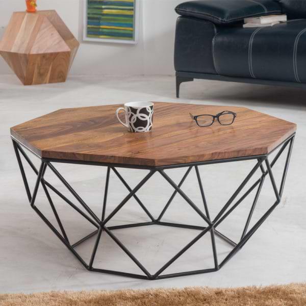 שולחן סלון מעץ מלא משולב ברזל דגם פורטלנד