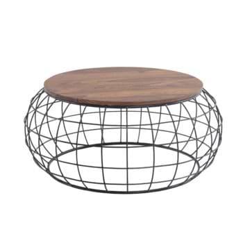 שולחן סלון עגול מעץ מלא משולב ברזל דגם שרלוט