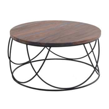שולחן סלון עגול מעץ מלא משולב ברזל דגם טולדו