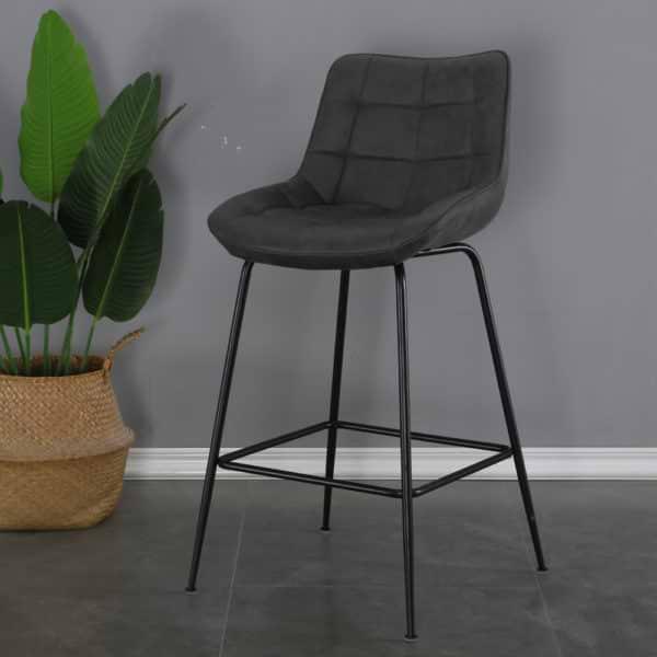 זוג כסאות בר מרופדים בד רחיץ עם רגלי ברזל דגם עלית – משלוח חינם!
