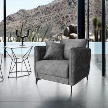 כורסא מעוצבת מרופדת בד רחיץ דגם קיטו – אפור