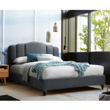 מיטה זוגית 160×200 מרופדת בד עם ראש מדורג ורגלי עץ מלא דגם אואזיס
