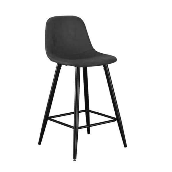 זוג כסאות בר מרופדים בד רחיץ עם רגלי ברזל דגם טוני – משלוח חינם!