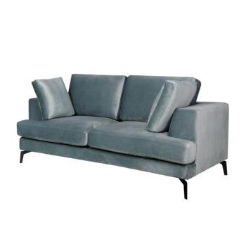 ספה דו מושבית מרופדת בד קטיפתי דגם אלפא-תכלת