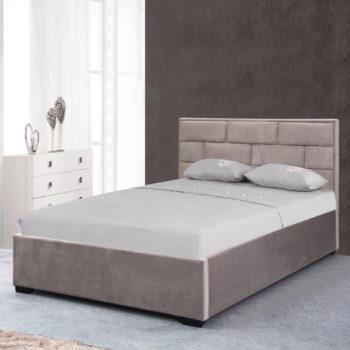 מיטה זוגית מעוצבת 140×190 בריפוד בד קטיפתי עם ארגז מצעים מעץ דגם ברלין
