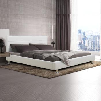 מיטה זוגית 140×190 מעוצבת בריפוד דמוי עור לבן-שמנת דגם פיזה 140