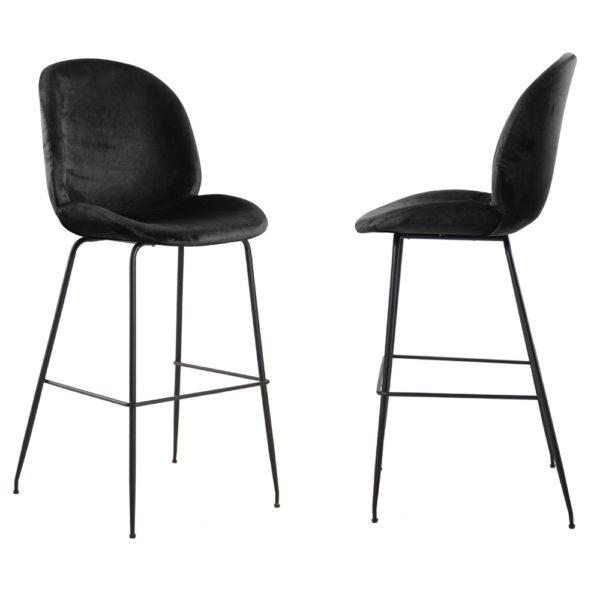 זוג כסאות בר מרופדים בד קטיפה עם רגלי ברזל דגם אלונה – משלוח חינם!