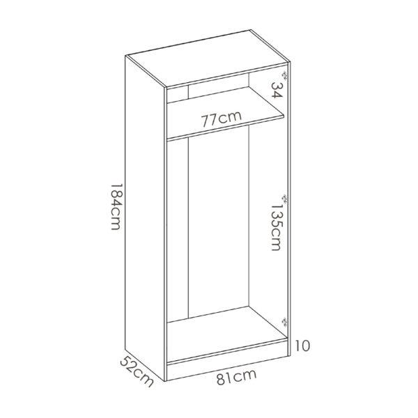 """ארון פתיחה 80 ס""""מ 2 דלתות תוצרת ספרד דגם אסנס"""