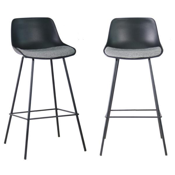 זוג כסאות בר מרופדים בד עם רגלי ברזל דגם אילן – משלוח חינם!