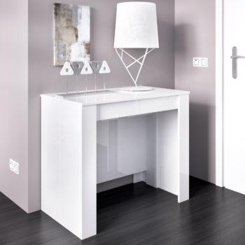 שולחן אוכל קונסולה נפתחת עם אחסון תוצרת ספרד HOME DECOR דגם קיאנו-לבן