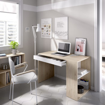 שולחן כתיבה עם תאי אחסון תוצרת ספרד דגם לאו – לבן אלון