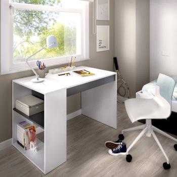 שולחן כתיבה עם תאי אחסון תוצרת ספרד דגם לאו – לבן אפור