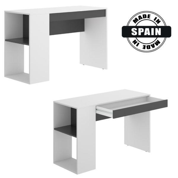 שולחן כתיבה עם תאי אחסון תוצרת ספרד דגם לאו - לבן אלון