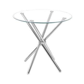 """שולחן אוכל זכוכית עגול 80 ס""""מ עם רגלי כרום דגם לסטר"""