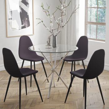 פינת אוכל עם שולחן זכוכית ו-4 כסאות מרופדים דגם לסטר-כרמל