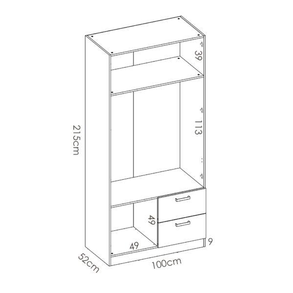 """ארון פתיחה 100 ס""""מ 2 דלתות תוצרת ספרד דגם מקסי 2"""