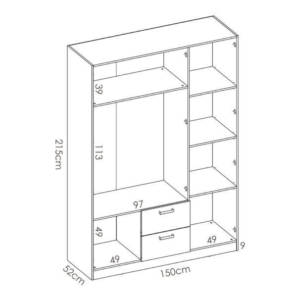 """ארון פתיחה 150 ס""""מ 3 דלתות תוצרת ספרד דגם מקסי 3"""
