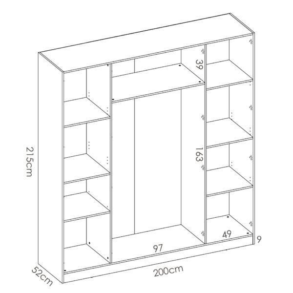 """ארון פתיחה 200 ס""""מ 4 דלתות תוצרת ספרד דגם מקסי 4"""