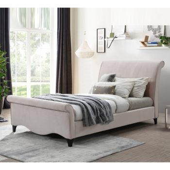 מיטת נסיכות רחבה 120/190 מרופדת בד קטיפה ורוד דגם מורן