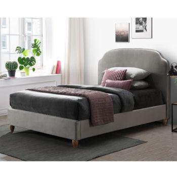 מיטה זוגית 140×190 מרופדת בד קטיפתי עם רגלי עץ מלא דגם רימון
