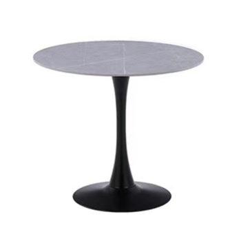 שולחן אוכל עגול עם פלטת אבן ייחודית ורגל ברזל דגם שפילד-אפור