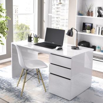 שולחן כתיבה בגימור לבן מבריק תוצרת ספרד דגם שירה