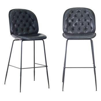 זוג כסאות בר מפוארים מרופדים בד רחיץ עם רגלי ברזל דגם ויקטורי – משלוח חינם!