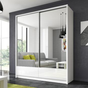"""ארון הזזה 180 ס""""מ עם 2 דלתות מראה ומגירות תוצרת אירופה דגם דורון"""