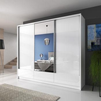 """ארון הזזה 250 ס""""מ 3 דלתות עם דלת מראה ומגירות תוצרת אירופה דגם דורון"""