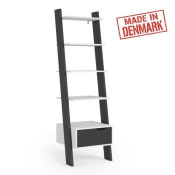 """יחידת מדפים מעוצבת """"סולם"""" תוצרת דנמרק דגם קליק שחור-לבן"""
