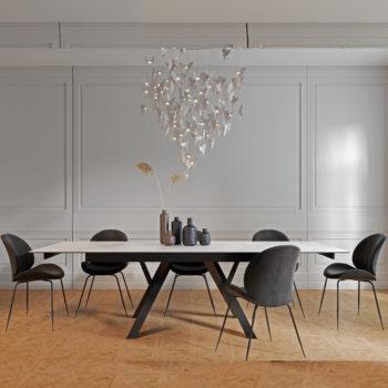 פינת אוכל קרמיקה 1.8 מ' נפתחת ל- 2.6 מ' עם 6 כסאות דגם מדריד-אגם