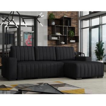 מערכת ישיבה פינתית אירופאית נפתחת למיטה עם ארגז מצעים דגם פומה – שחור