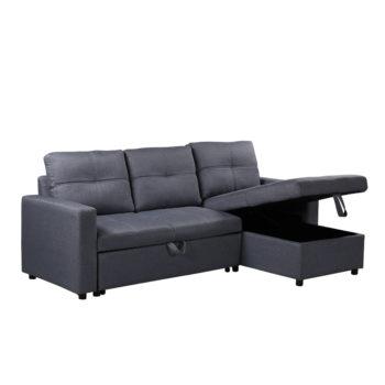 מערכת ישיבה פינתית מבד נפתחת למיטה עם ארגז מצעים דגם ענבל – אפור