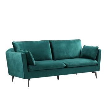ספה תלת מושבית מעוצבת עם קפיצים מבודדים ובד קטיפה דגם רותם-ירוק