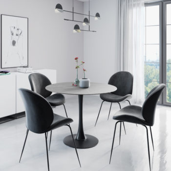 פינת אוכל עגולה עם שולחן פלטת אבן ייחודית ו-4 כסאות מרופדים דגם שפילד אפור-אגם