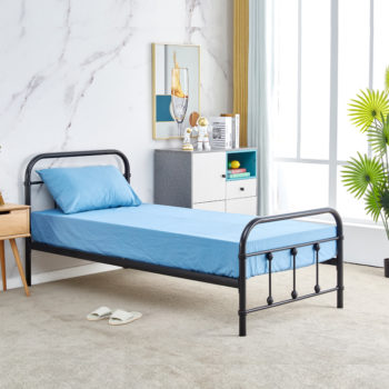 מיטת יחיד מברזל 90×190 בגוון שחור דגם אפיק 90