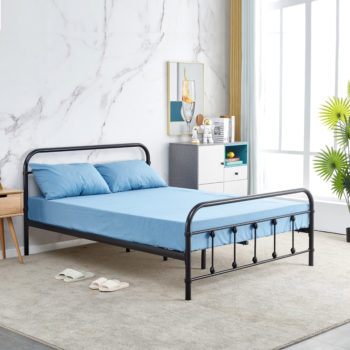 מיטת זוגית מברזל בגוון שחור למזרן 140×190 דגם אפיק 140